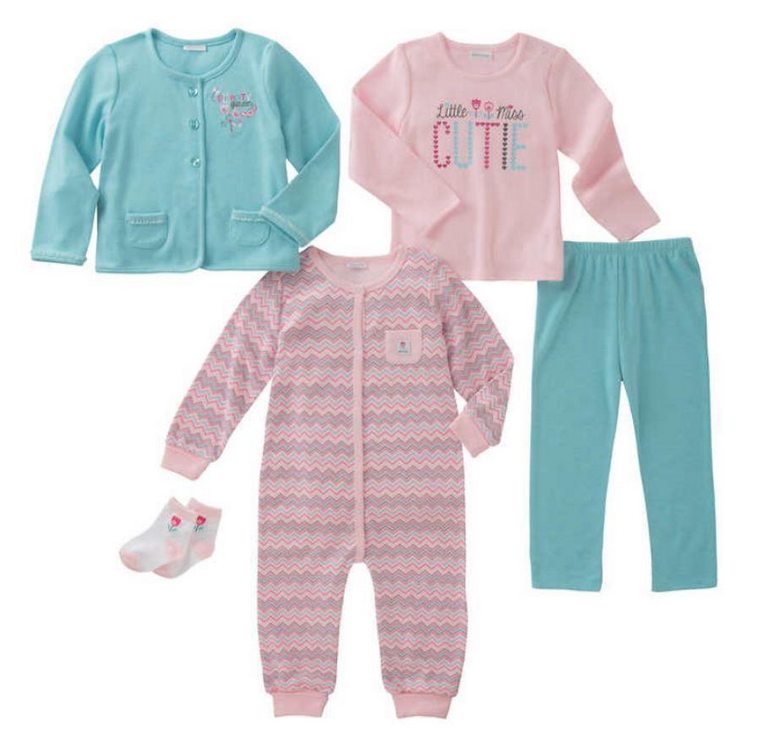 Absorba Infant Girls' 5-Piece Set, Size Size 18M, Pink Hound - $15.83