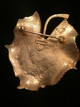 60s Kramer gold leaf with real cultured pearl brooch image 4
