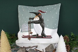POTTERY BARN PENGUIN CREWEL EMBROIDERED PILLOW COVER –NWT– WADDLE UP TO ... - $49.95