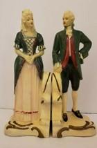Vintage Florentine  Art Studios Colonial Man Woman Bookends - $49.49