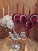 Clearance Christmas Ornaments Vintage Porcelain Silky Hats Shoes Purse 1... - $8.63