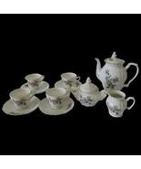 13 Piece VTG Tea Set White with Roses Teapot, Creamer, Sugar, 4 Cups & S... - $82.16