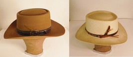 Lot of 2 Hats Stetson 3x Beaver Western Cowboy Brown & Straw Shantung Si... - $113.59