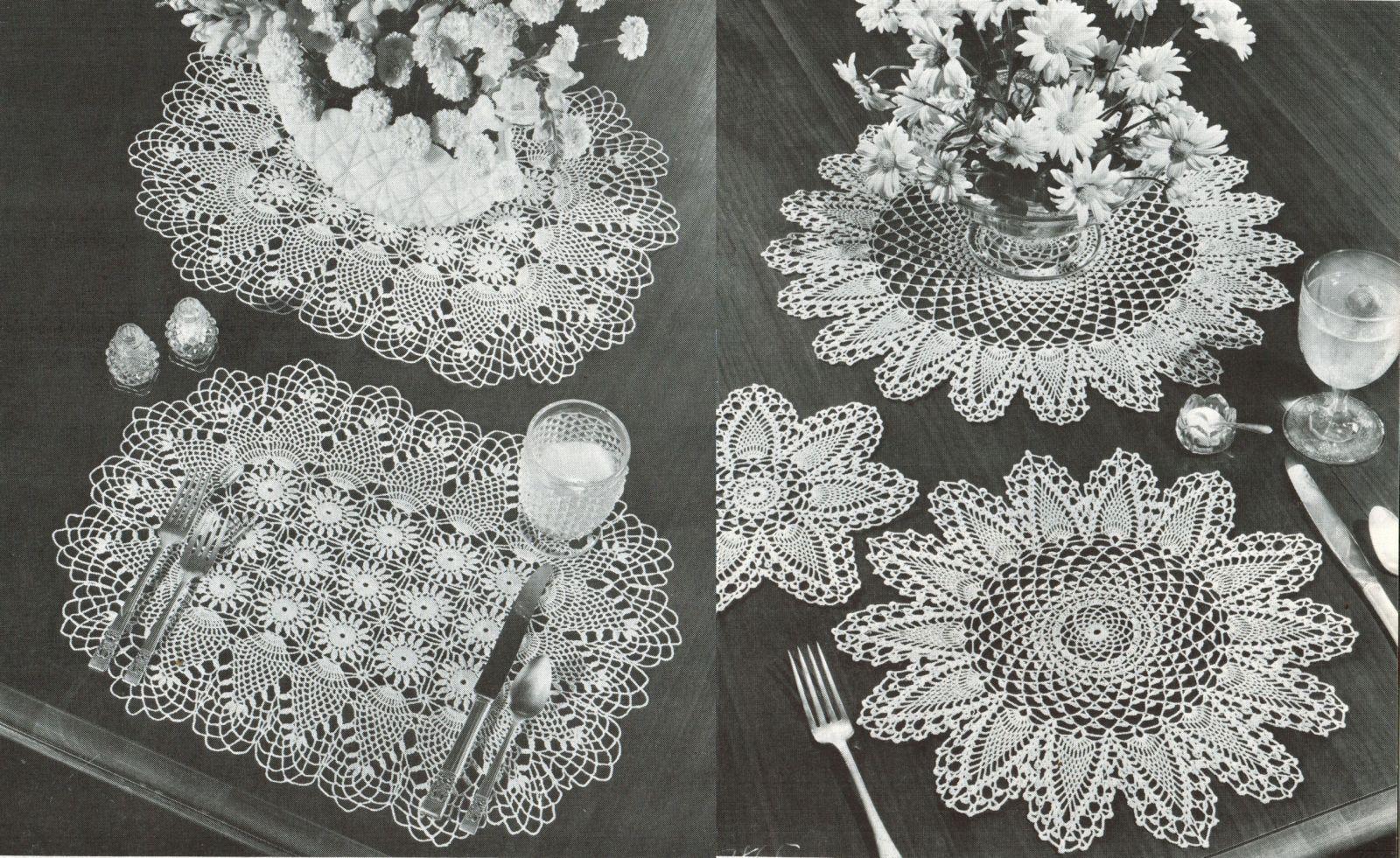 Pineapple Doilies Tablecloth Runner Luncheon Buffet Armchair Crochet Patterns
