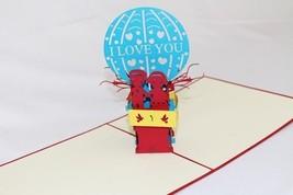 Hot-air Balloon, Pop Up Greeting card, Handmade Happy Birthday, Anniversary 170 - $4.99