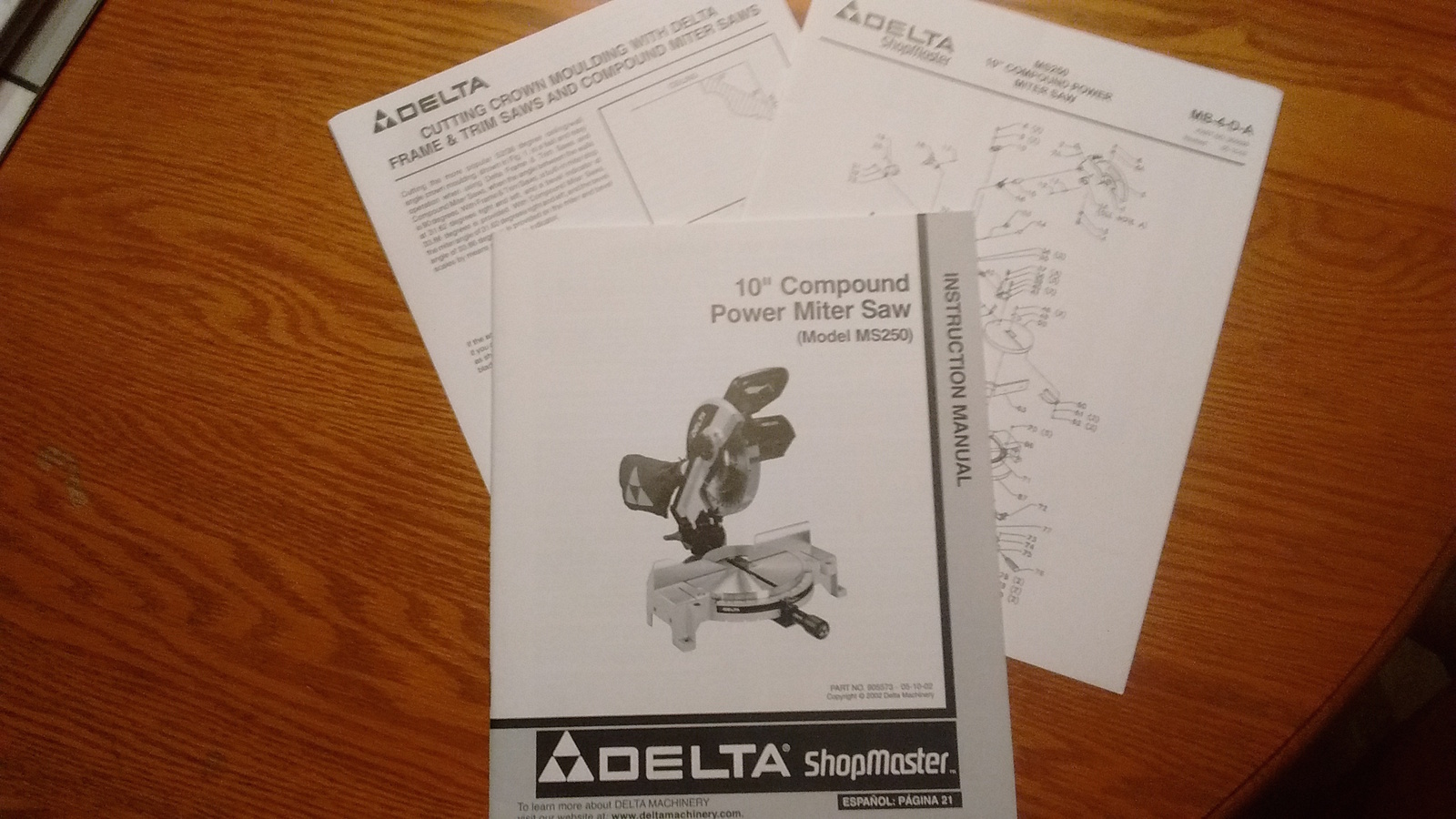 """Delta instruction manual for the 10"""" compound power Mitre Saw MS250 - $3.95"""