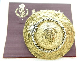Vintage Premier Designs Dress Up Hat Dual Tone Pin Brooch New Old Stock - $19.80