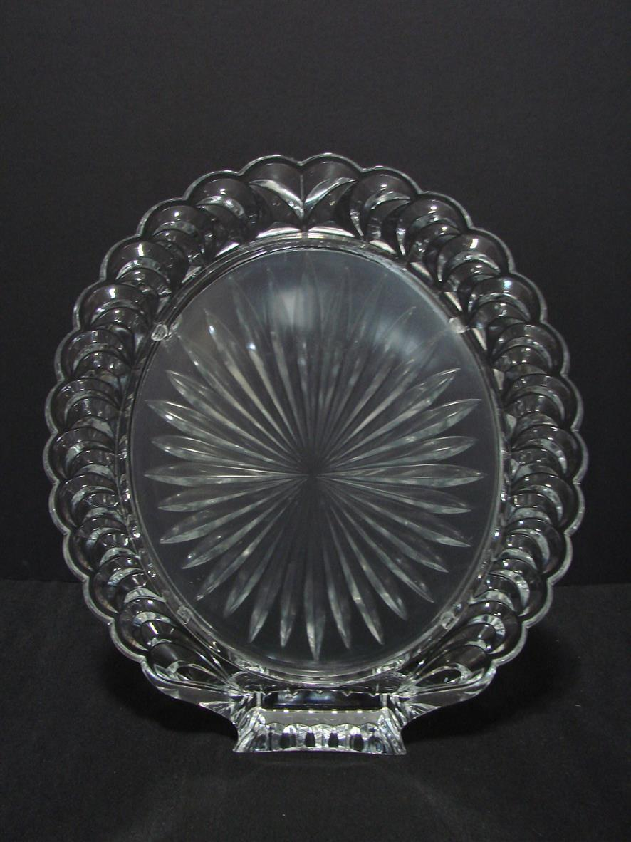 """Large Oval 8 x 10"""" Crystal Picture Frame 24% Lead Crystal Ornate Self Standing"""
