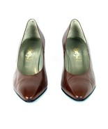 Authentic YSL Yves Saint Laurent Brown Leather Pump High Heels Shoes 37 ... - $117.81