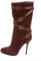 Christian Dior Brown Suede Mid Calf Buckle Bets Boots Size 37.5 Pull Up - $249.00