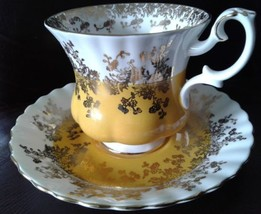Royal Albert Regal Series Demitasse Teacup and Saucer Yellow with Gold G... - $23.04