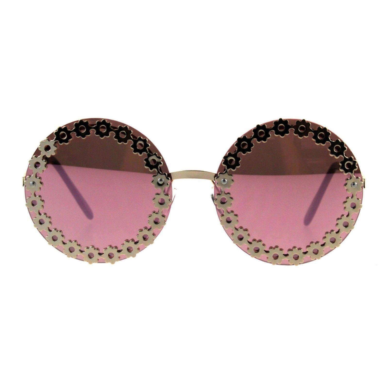 Womens Fashion Sunglasses Gold Round Floral Flower Design UV 400