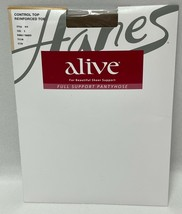 Hanes Alive Full Support Pantyhose Control Top Reinforced Heel Sz E Bare... - $17.99
