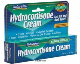 HYDROCORTISONE CREAM Max. Strength 1%, Fast Itch/Rash Relief Natureplex 1oz - $6.44