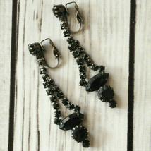 vintage black rhinestone drop dangle clip earrings silver tone - $9.89