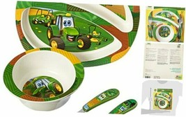John Deere's Johnny Tractor and Friends Feeding 4 Piece Set, Green, Brown, - $19.45