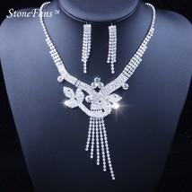 StoneFans Fashion Crystal Rhinestone 2pcs Plant Choker Necklace Velvet Statement - $14.29