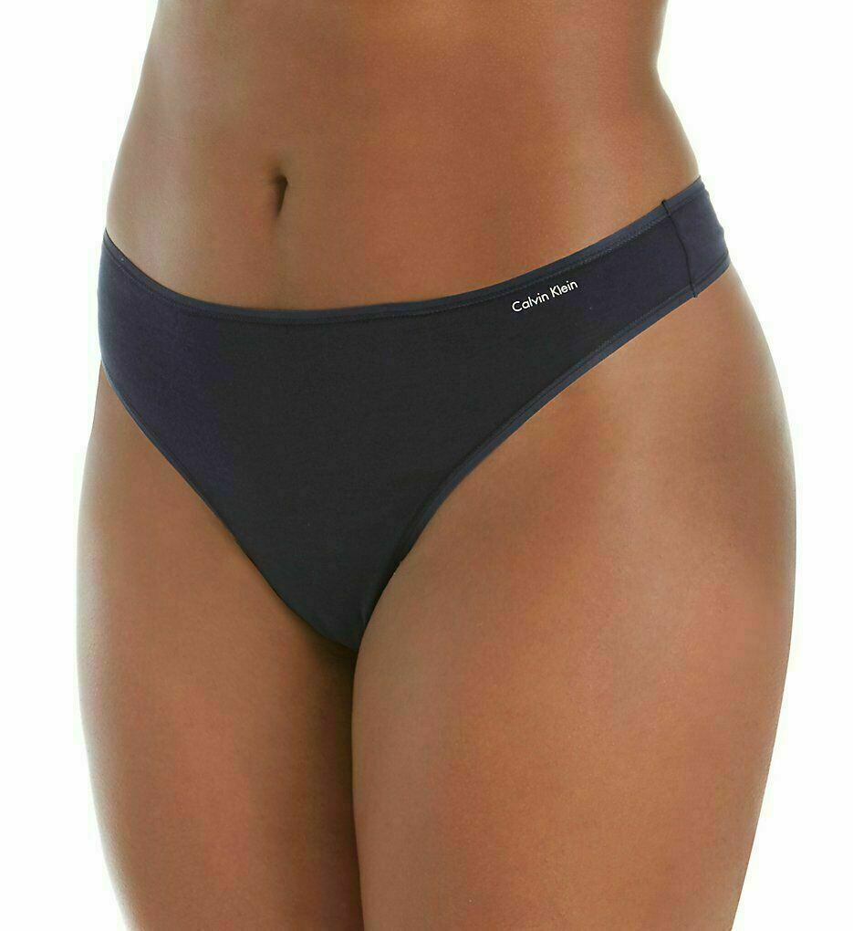 Calvin Klein Women Form Plus Size Thong 3X Shoreline Blue Navy NWT