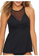 Coco Reef Mesh High-Neck Tankini Top, BLACK, 36D - $21.04