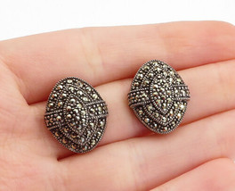 925 Sterling Silver - Vintage Marcasite Decorated Dome Drop Earrings - E... - $32.74