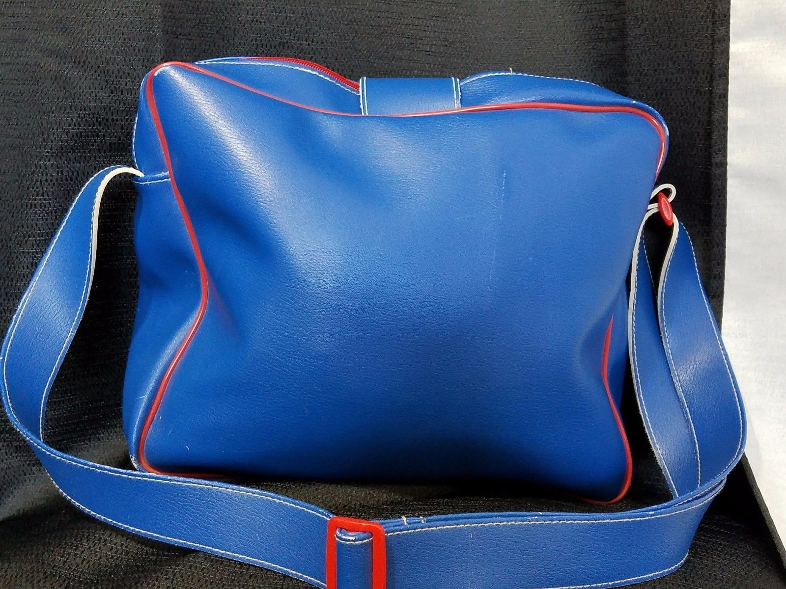 Pup Stop Carry Weekender Bag Blue Red Trim and Zipper Puppy On Front Adj Strap