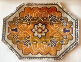 "Dollhouse Miniature Rug Reversable 12"" x 6"" Orange Blue Tan Southwest Pattern"