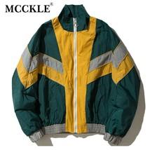 Spring Hip Hop Bomber Men's Jacket Coat Long Sleeve Patchwork Baseball B... - $63.16