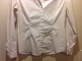 Ladies White Long Sleeve Open Collared Blouse by New York and Co Sz L image 3