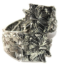 Women Floral Daffodil Flower Metal Adjustable Wide Stretch Bracelet Colo... - $14.97
