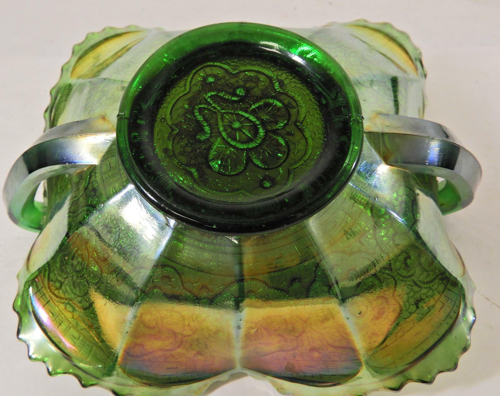 Antique Fenton Green Persian Medallion Carnival Glass Bon Bon or Card Tray