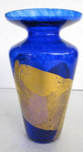 Vintage Handblown &  Cobalt Blue Color Glass With Gold Finish Designs By... - $124.99