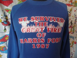 Vintage 80's I survived The Great Fire Of Harris Ford 1987 Sweatshirt L - $24.74