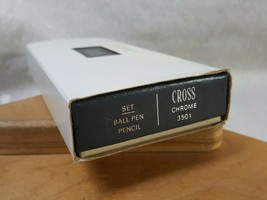 Vintage Cross Ball Pen Pencil Set Chrome Slip Case Box 3501 Complete 1980s - $25.98