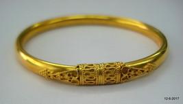 Ethnic design 22kt gold bangle bracelet cuff handmade gold jewelry - $2,870.01