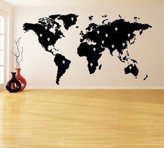 ( 87'' x 48'') Vinyl Wall Decal World Map with Google Dots / Earth Atlas Shiluet - $103.55