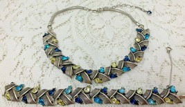 Vintage Coro Aqua Blue Yellow Dark Blue Rhinestone Necklace and Bracelet... - $56.99