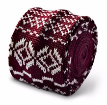 Frederick Thomas Knitted Skinny Maroon Tie with Christmas jumper design FT3371