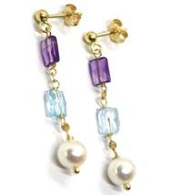 Drop Earrings Yellow Gold, 18K 750, Pearls round, Amethyst, Blue Topaz image 2