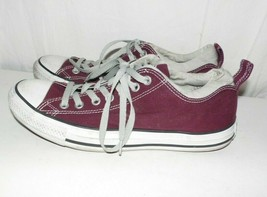 Converse All Star Chuck Taylor Burgundy Wine Gray Canvas Sneakers M9 W11 - $25.74