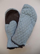 Grandoe Ladies Quilted Ski Mittens with leather grips, Sky Blue - $26.79