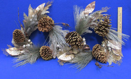 Pine Cone Wreath Chocolate Brown Gold & Silver Tone Glitter Sparkle Lot ... - €24,59 EUR