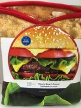 """Hamburger Round Beach Towel BIG 58"""" Diameter New Mainstays  - $24.74"""