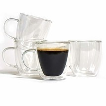 Moderna Espresso Cups with Handle, Made of Borosilicate Glass, Double Wa... - $30.94