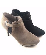 Bandolino Cambria Gray Suede Leather High Heel Round Toe Ankle Bootie Si... - $843,37 MXN
