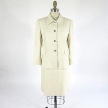 44 - Dolce & Gabbana 2pc Beige Cream Silk Cotton Jacket & Skirt Suit Set... - $100.00