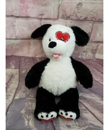 """Build-A-Bear Black and White 18""""  Puppy Dog Plush with Red Heart Eye Pat... - $18.99"""