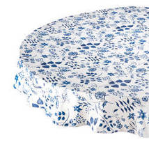 Flowing Flowers Vinyl Tablecovers By Home-Style Kitchen-70ROUND-BLUE - $14.59