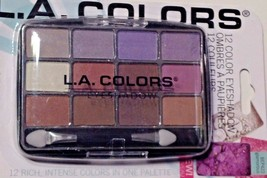 LA Colors Powder Eyeshadow 12 Shades Glamorous & Applicator Brush - $9.85