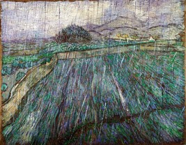 Wheat Field in Rain Painting by Vincent van Gogh Art Reproduction - $32.99+