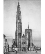 BELGIUM Antwerp Main Square & Cathedral with Clock - SUPERB 1843 Antique... - $33.75